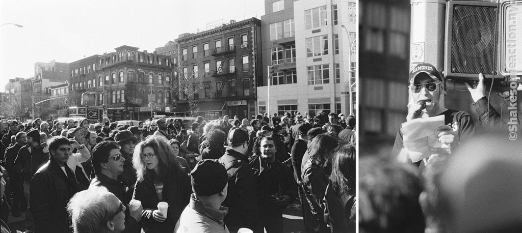 Dedication of Joey Ramone Place at the corner of Bowery and 2nd St. November 30, 2003. Speaker: Arturo Vega.